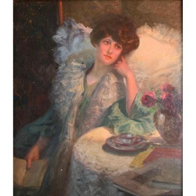Rosset-granger (1853-1934) - The Reading Lady - Oil
