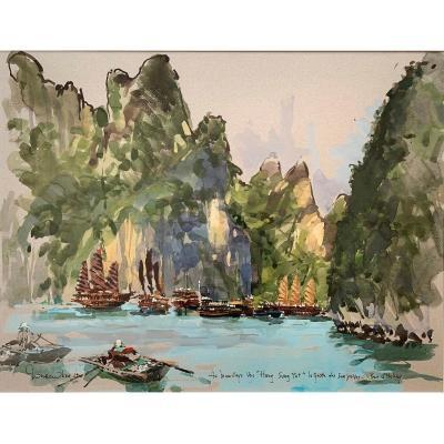 Ronan OLIER - Peintre de la Marine - Baie d'Halong, Vietnam - Grande Gouache - Orientalisme