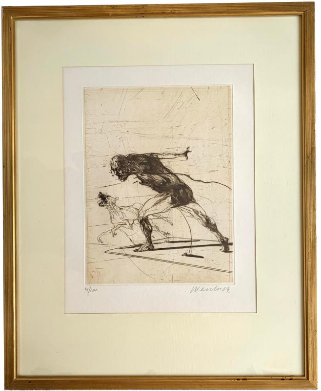 Claude Weisbuch - Cave Hominem - Color Engraving-photo-2