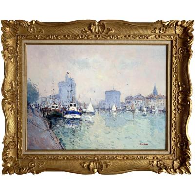 Port Of La Rochelle By Jean-pierre Dubord - Large Post-impressionist Oil On Canvas