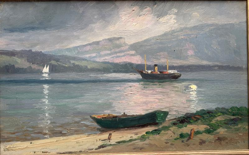 Emile Wegelin (1875-1962) - At The Edge Of Lake Geneva - Oil On Canvas-photo-2