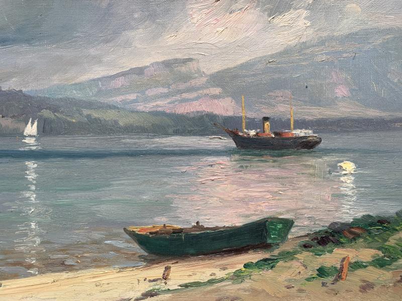 Emile Wegelin (1875-1962) - At The Edge Of Lake Geneva - Oil On Canvas-photo-3