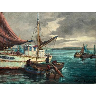 Fishing Boats In Douarnenez, Brittany By Pierre Bogdanoff - Oil On Canvas - Marine