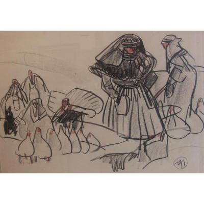 Mathurin Méheut : Foire De La Montbran (côtes d'Armor)