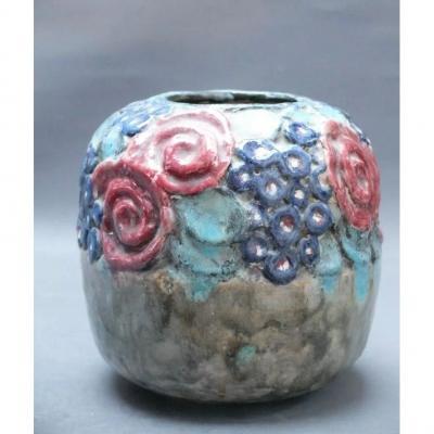 Vase d'époque Art Déco à Motifs Floraux
