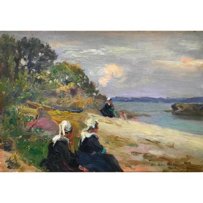 Bretonnes On The Beach By Alfred Victor Fournier, Brittany, Finistère
