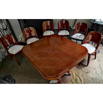 Table de salle à manger Art Déco et 6 chaises