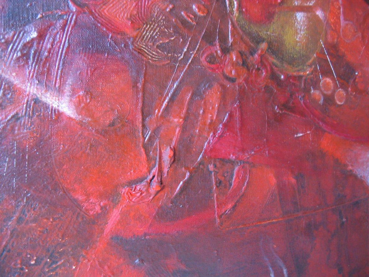 Rodolfo Quiroz Peintre Péruvien   Rare Oeuvre paysage cosmique 1973-photo-3