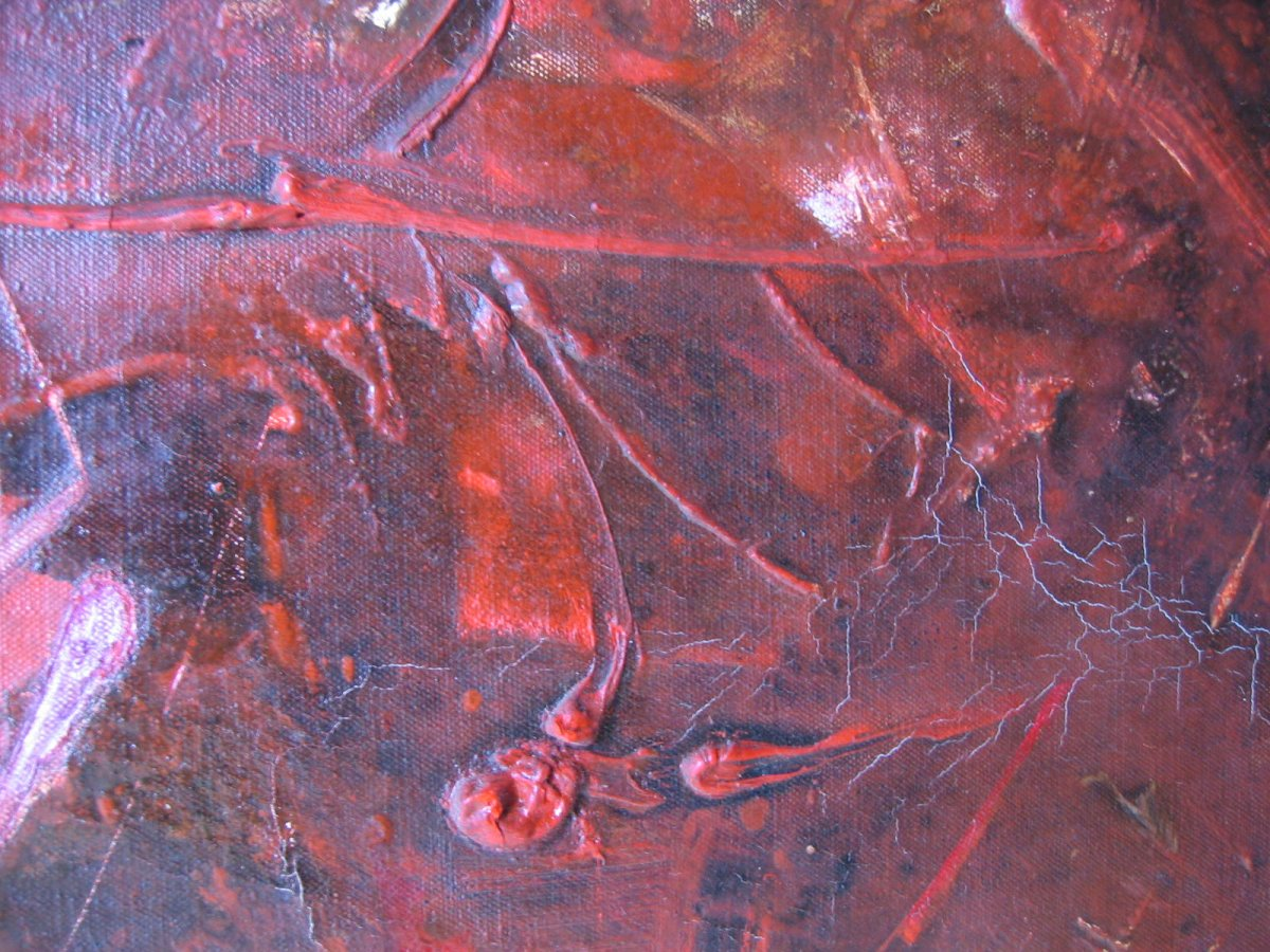 Rodolfo Quiroz Peintre Péruvien   Rare Oeuvre paysage cosmique 1973-photo-4