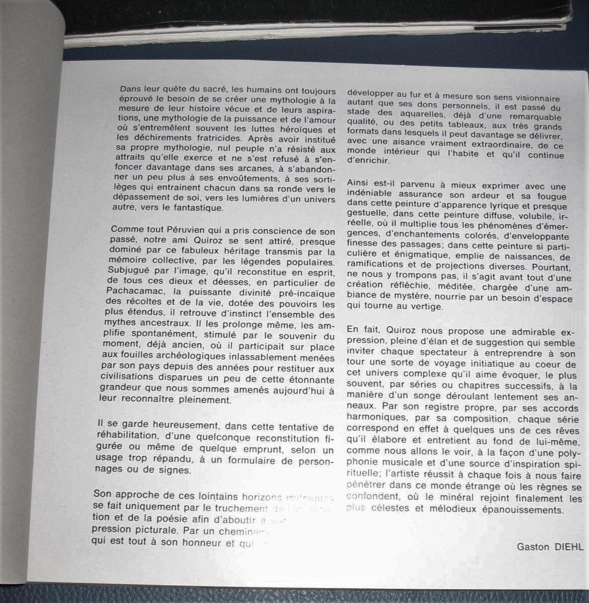 Rodolfo Quiroz Peintre Péruvien   Rare Oeuvre paysage cosmique 1973-photo-2