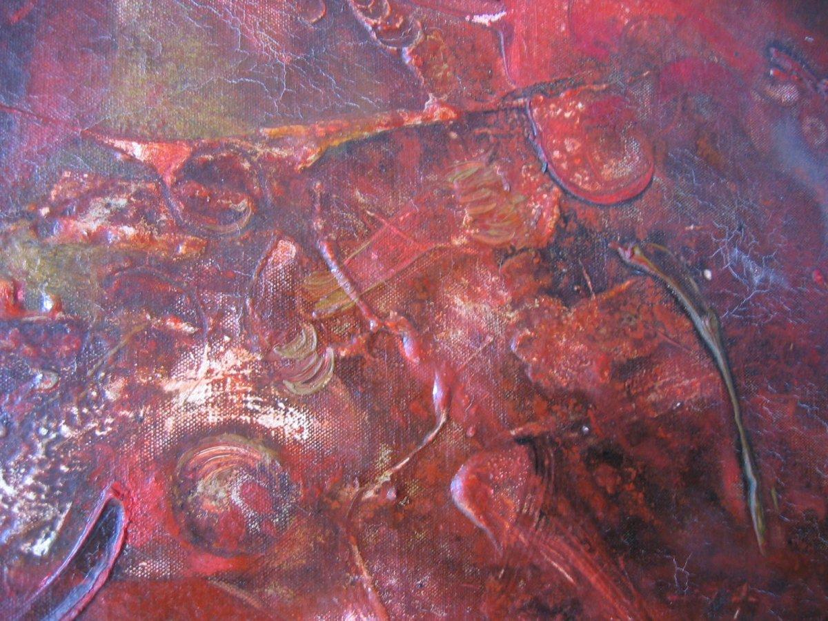 Rodolfo Quiroz Peintre Péruvien   Rare Oeuvre paysage cosmique 1973-photo-1
