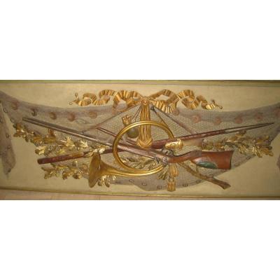 Boiserie Aux Attributs Chasse Et Pêche Entièrement Sculptée Fin XVIIIe Siècle