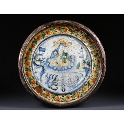 Earthenware Medallion Animated With Architectural Boats And Madonna