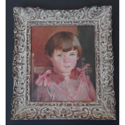Portrait Of A Little Girl In The Pink Dress