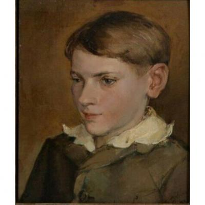Portrait Of A Young Boy Painted On Panel 1932