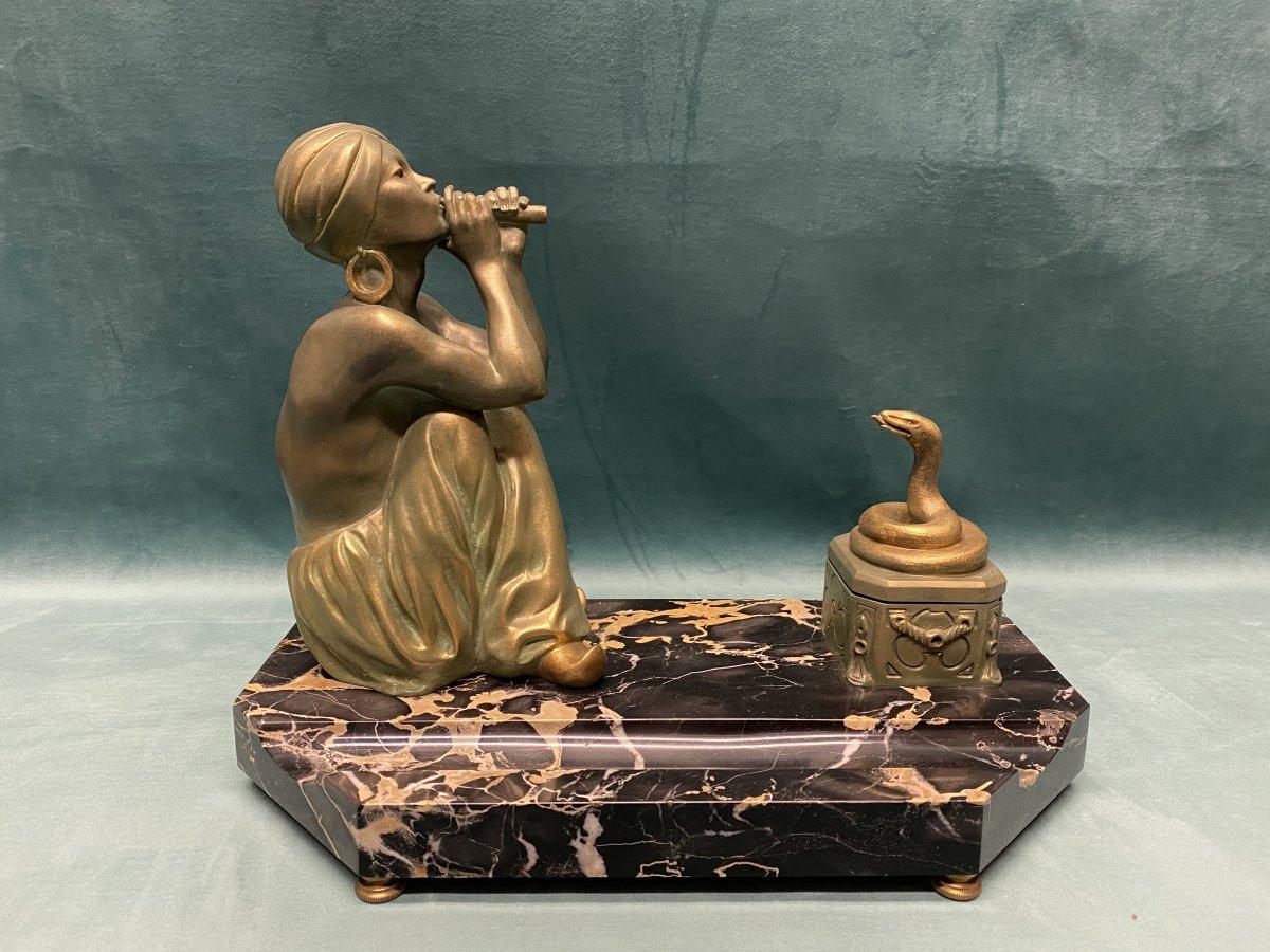 Encrier en bronze signé  Godard, période  Art-déco