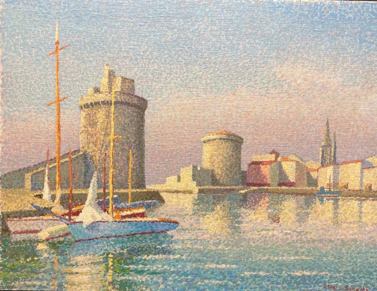 "Pointillist Painting ""port Of La Rochelle"""