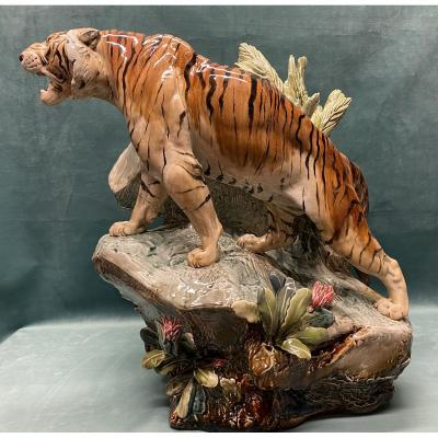 Tiger In Majolica By Louis Carrier- Belleuse, Choisy Le Roi