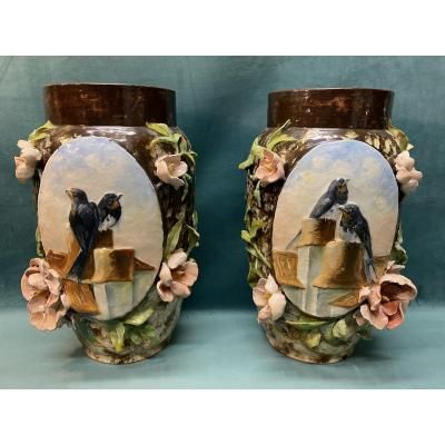 Pair Of Impressionist Vases With Swallows