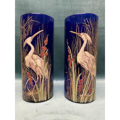 Pair Of Art-nouveau Enamelled Glass Vases