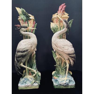 Paire de vases  Art-Nouveau ˋhérons ´