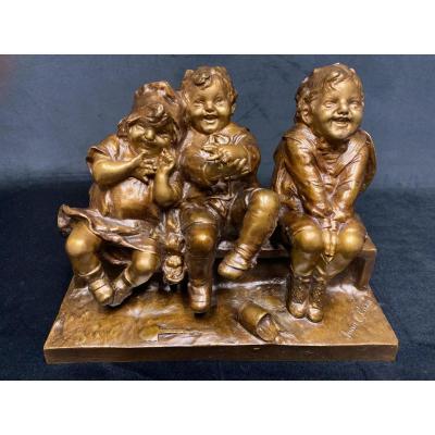 Groupe en bronze  «enfants » de Juan Clara
