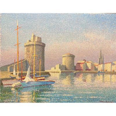 """Peinture pointilliste  """"port  de La Rochelle """""""