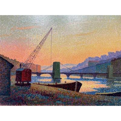 """Peinture pointilliste  """"Lyon, Couché de soleil sur la Saône"""""""