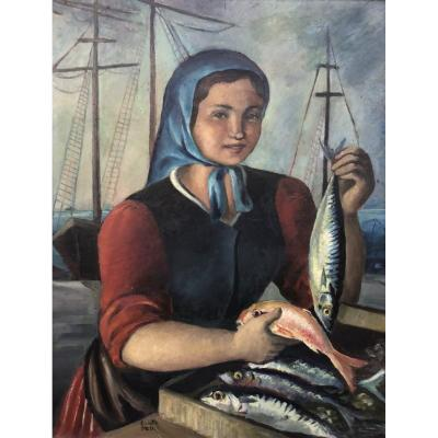Colette Mills, Young Woman With Fish
