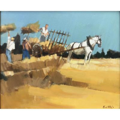 Fanch Moal, Haymaking, Oil On Canvas