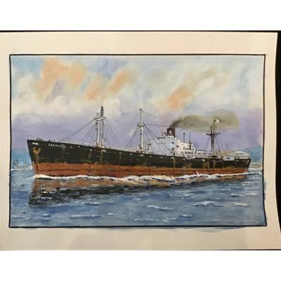 "Pierre PagÈs Liberty Ship ""granville"", Gouache"