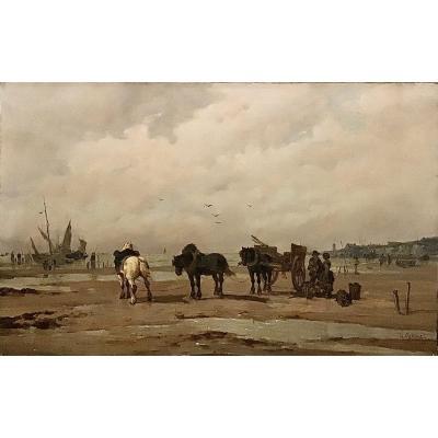 H. Gomez Attelage à Marée Basse Côte Normande
