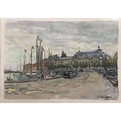 Albert Becus, Casino De Trouville, Watercolor 41x55 Cm