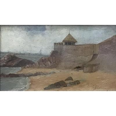 Fernand Laroche, Pornichet, Oil On Canvas 19x33cm, 19th