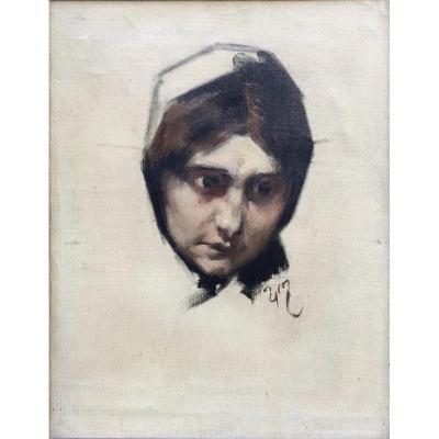 Henri Jules Jean Geoffroy Dit Géo, Portrait Féminin, Huile Sur Toile 35x27 Cm