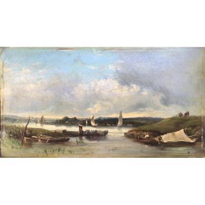 Paysage Maritime, Huile Sur Bois, 19ème