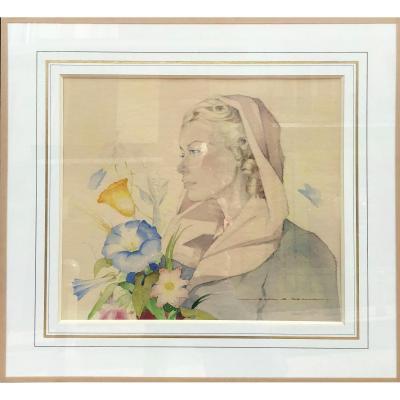 Jean Adrien Mercier, Portrait féminin Aquarelle