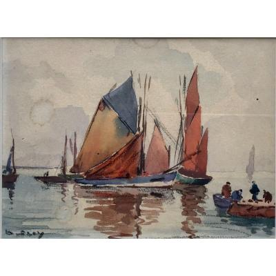 Olivier Séry, Boats In Bay, Watercolor 10x13 Cm