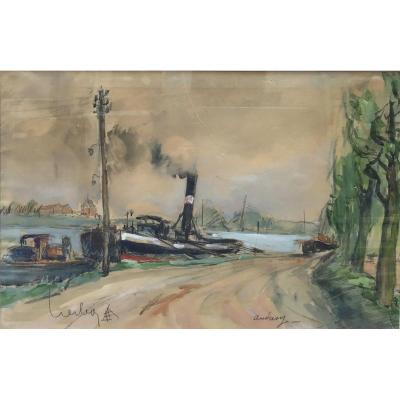 Fernand Herbo, Andrésy, Watercolor 1930s