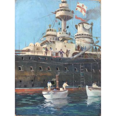 Philippe Paris, Battleship, Oil On Canvas 1930s