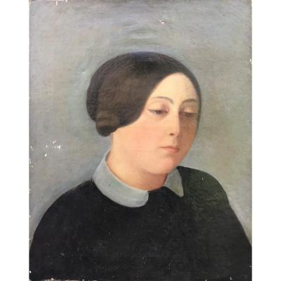 Female Portrait, Anonymous, Oil On Canvas 19th