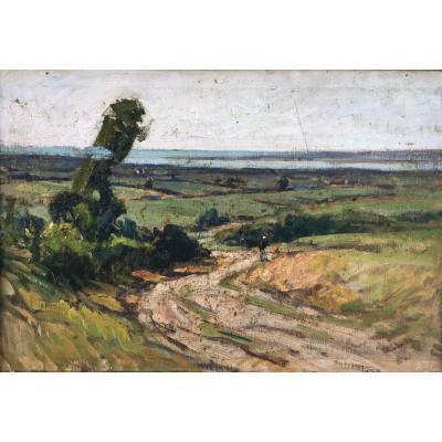 André Prévot Valeri, Chemin à Bréville, Oil On Canvas 38x55 Cm