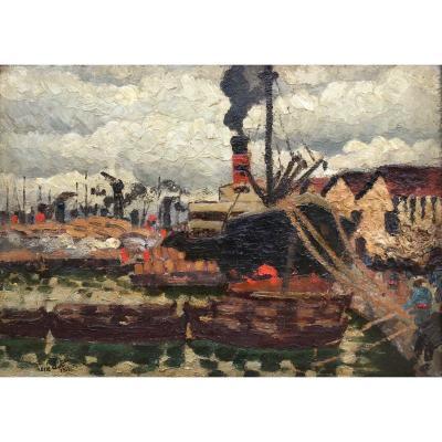 René Jean Clot, Boats At A Quay, Oil  1931