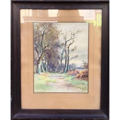Léon Hammonet, Chemin à ERQUY, Aquarelle 30x23 Cm