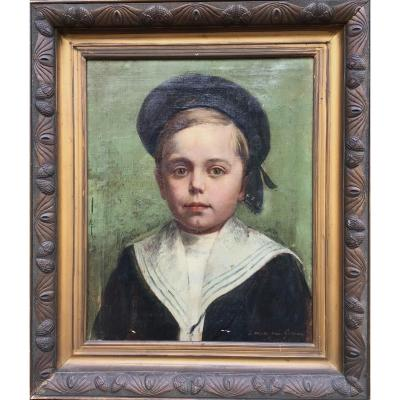 Portrait Of Child In Sailor, Undeciphered Signature, Oil On Canvas 53x45 Cm