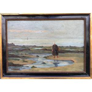 Pierre Berthelier, Crab Fisherwoman, Oil On Canvas