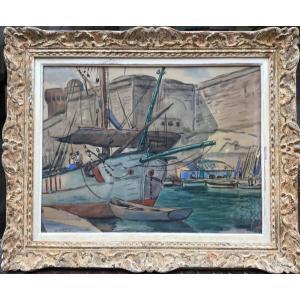 Albert Copieux, Bateaux à Quai, Aquarelle 53x68 Cm