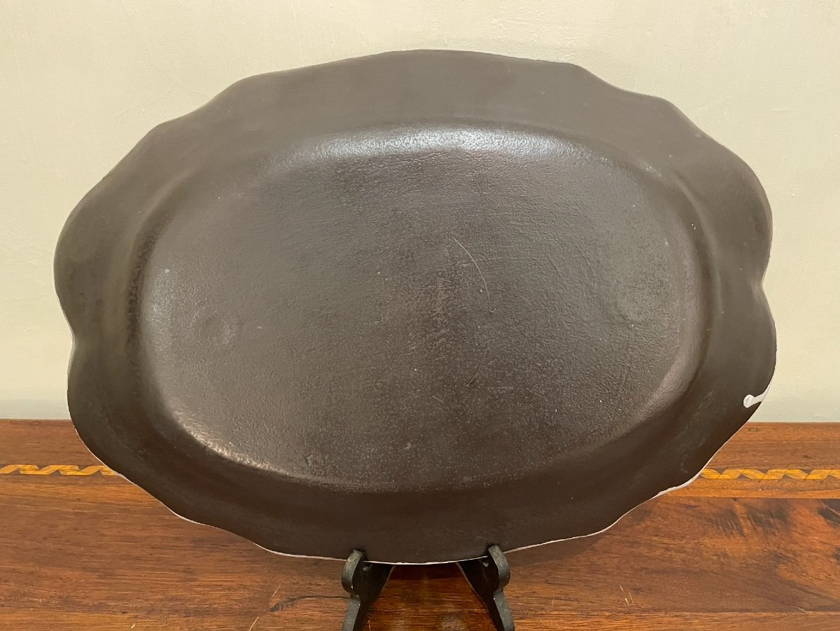 Dish Scalloped In Earthenware From Rouen, Black Ass Eighteenth-photo-2