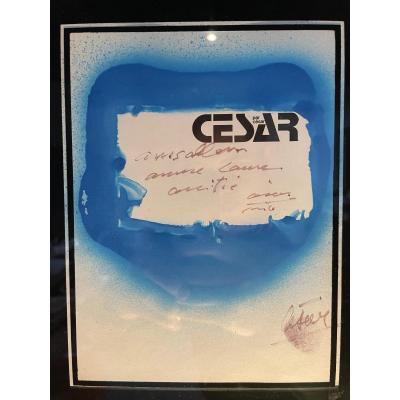 """Cesar Baldaccini 1921-1998 Blue Imprint On Printed Page """"césar Par César""""."""