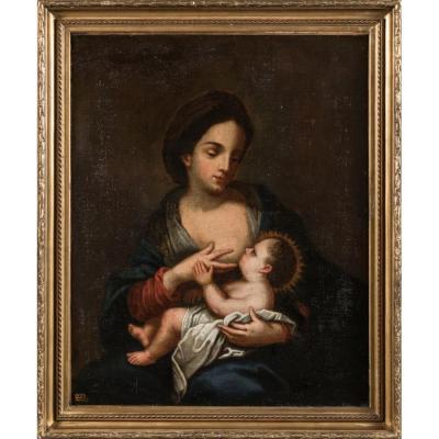 Vierge à l'Enfant , École Italienne 18ème